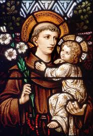 stained glass depiction of st. anthony